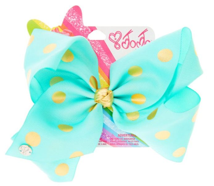 Myah and Natalie want a collection of these bows. JoJo Siwa Large Mint & Gold Polka Dot Hair Bow
