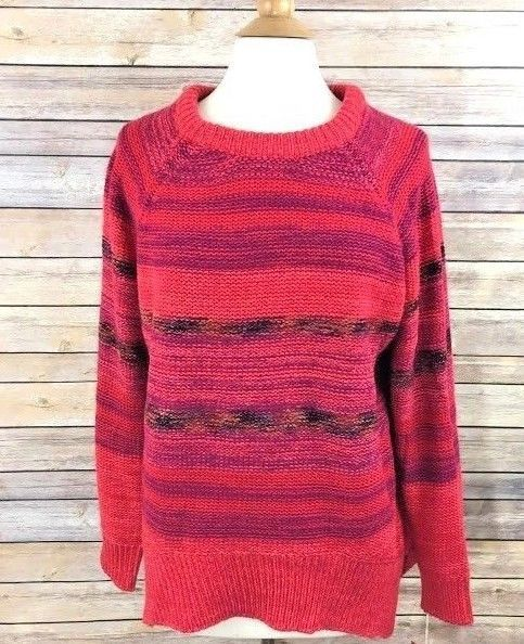 6698e78ba9e Mossimo Womens Sweater Red Purple Stripe Sz Large Acrylic Knit Long Sleeves  Nwt  Mossimo  Sweater  Casual