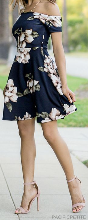 Floral Dress, off the shoulder style. Perfect for summer and spring outfit. Casual, cute, dressy, chick, classy dress for any occasion.