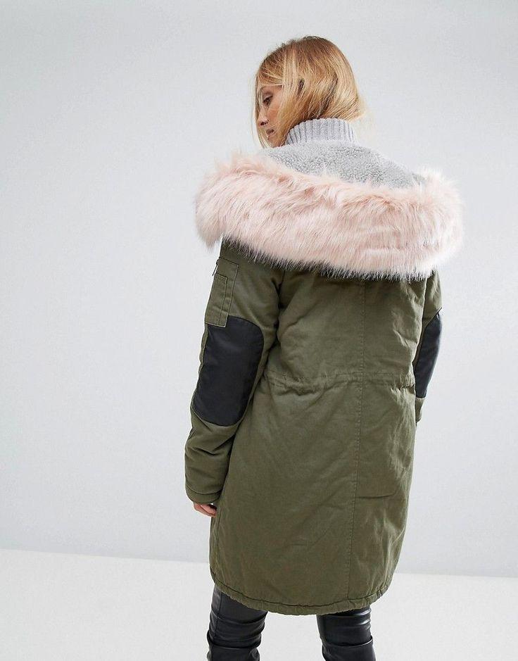 Vero Moda Tall Contrast Faux Fur Parka - Green