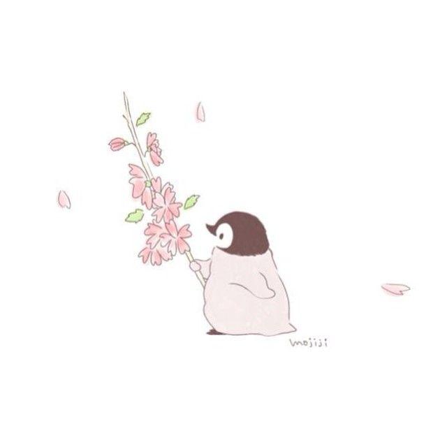 さくら きれいだっぺね ペンギンぺんちゃんさくら春イラスト絵