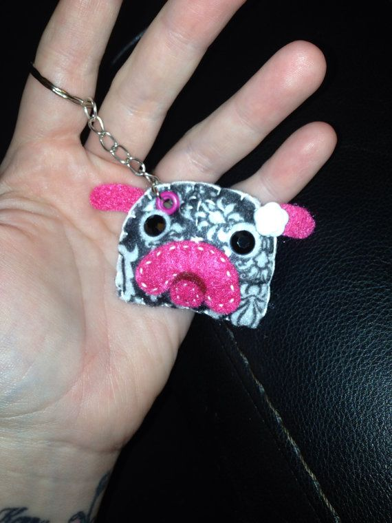 Handmade Felt Pug Keychain, portion of proceeds go to MidSouth Pug Rescue of TN on Etsy, $15.00