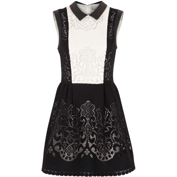 Sea NY Cream and black pointelle cotton blend dress (54.035 RUB) ❤ liked on Polyvore featuring dresses, vestidos, cream and other, black flared skirt, black skater skirt, floral dress, pleated dress and floral circle skirt