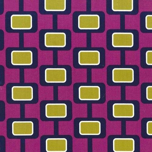 """Madison Jewel"" Geometric Boxes on Purple Fabric Fat Quarter by Michael Miller"
