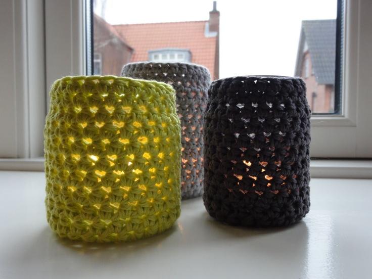 Hæklede lysestager (brug evt. samme mønster til lampeskærme!?!)