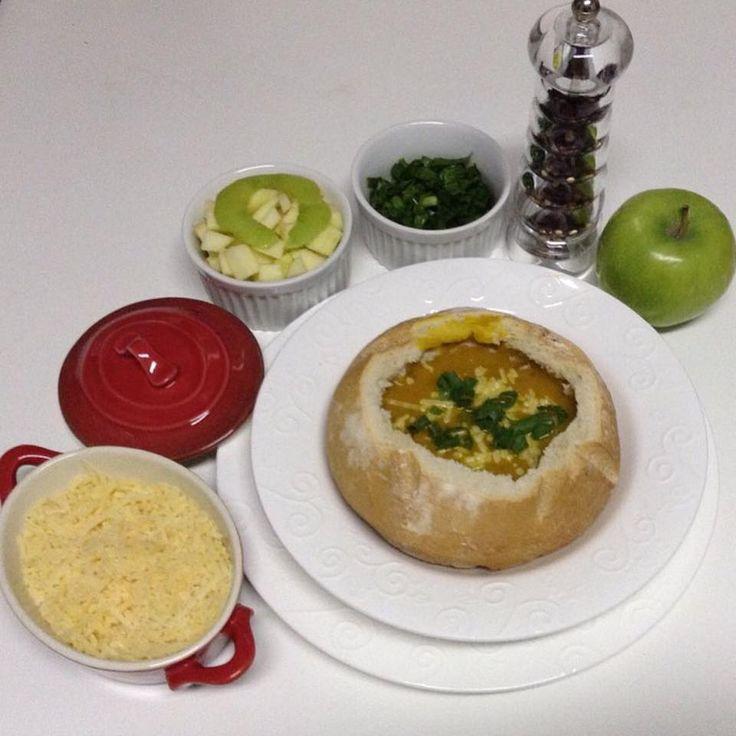 Sopa/creme de abóbora cabotiá, gengibre e maçã verde #saboreconsciencia #dantasnacozinha #dantasdemedeiros
