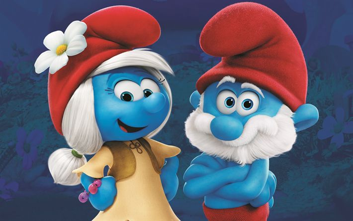 Download wallpapers Smurfs, The Lost Village, 2017, Smurfs 3, 4k, characters, Papa Smurf, Smurfette
