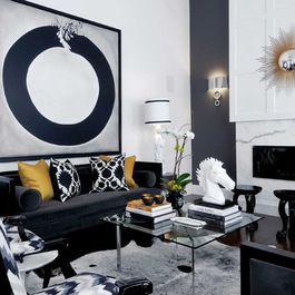 Black sofa living room