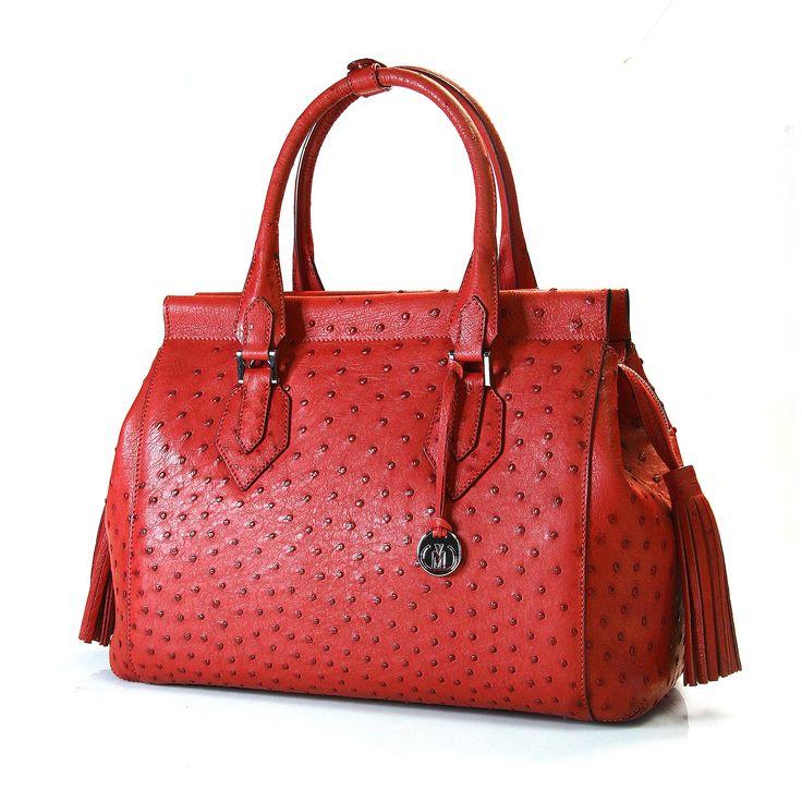 genuine ostrich leather handbag from Via La Moda