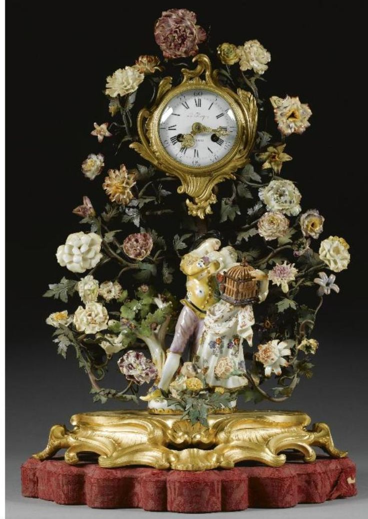 MEISSEN PORCELAIN GILDED BRONZE CLOCK IN A BOWER OF PORCELAIN FLOWERS
