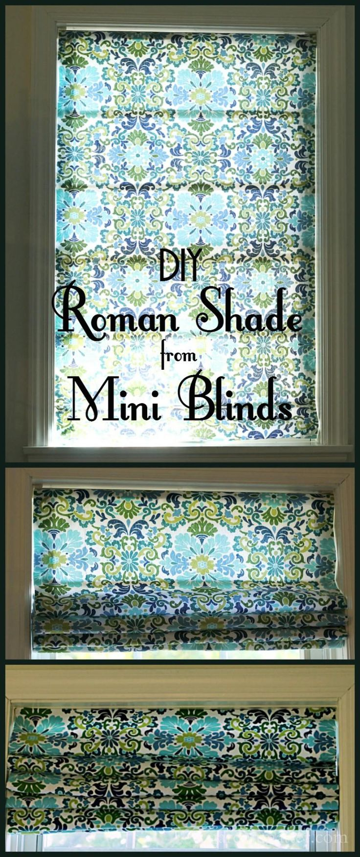 Learn how to make this easy and affordable roman shade from inexpensive mini-blinds in this step by step tutorial. #diywindowtreatment #romanshade