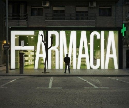 Finally, a sign I'd be able to see without my contacts in.    Typeverything.com Casanueva Pharmacy sign/façade... - Typeverything