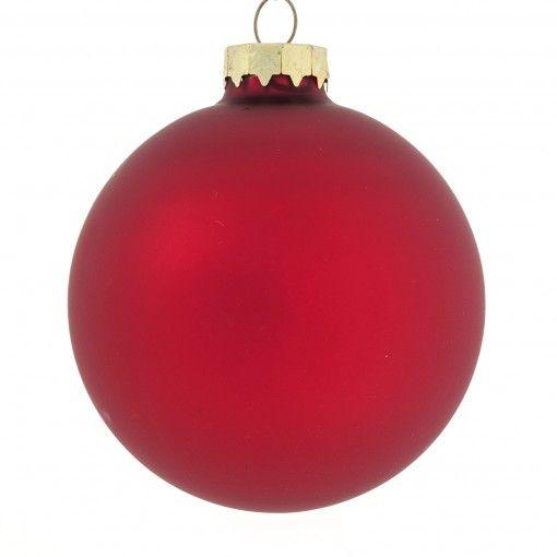 Kerstballen rood glas D 8 cm 6 stuks mat en glanzend
