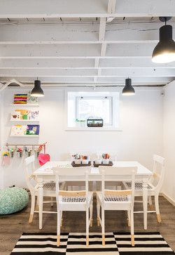 "Benjamin Moore ""decorator's white"" and those black light fixtures  Kids Studio Space - contemporary - kids - boston - Justine Sterling Design"