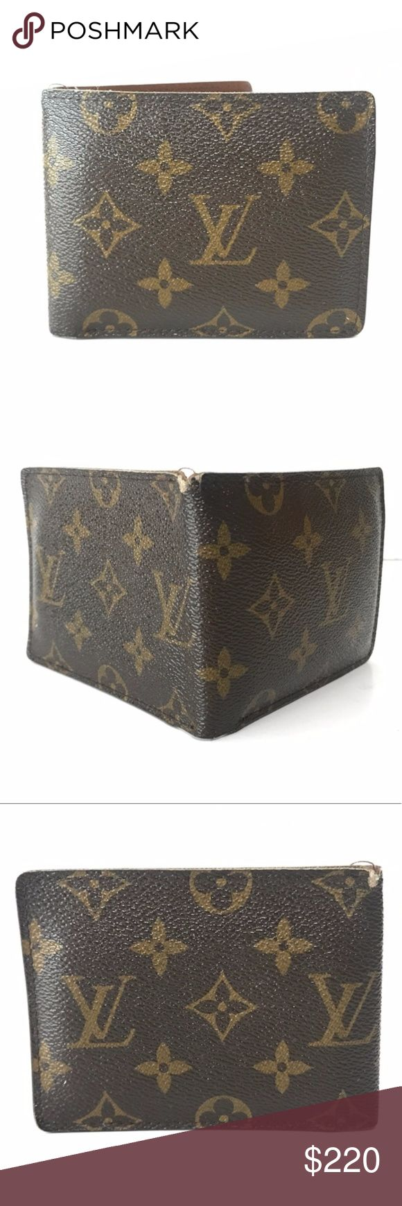 """Authentic Louis Vuitton Porte Billets Men's Wallet 100% Authentic Real Genuine LV Louis Vuitton Men's Wallet   Style: PORTE BILLETS 3 CARD BILLFOLD WALLET Color: Monogram Mono Canvas Brown  Date Code: CA4018 (Made in Spain Fall 2008) Size: 3.5"""" Height 4.5"""" Width Msrp: $490  Brown leather lining, four card slots, two slit pockets, one bill compartment and ID slot at interior walls and fold-over closure.  Good used condition (wear around edges, few dirt spots)  @ModaByBoutique Moda Boutique SF…"""