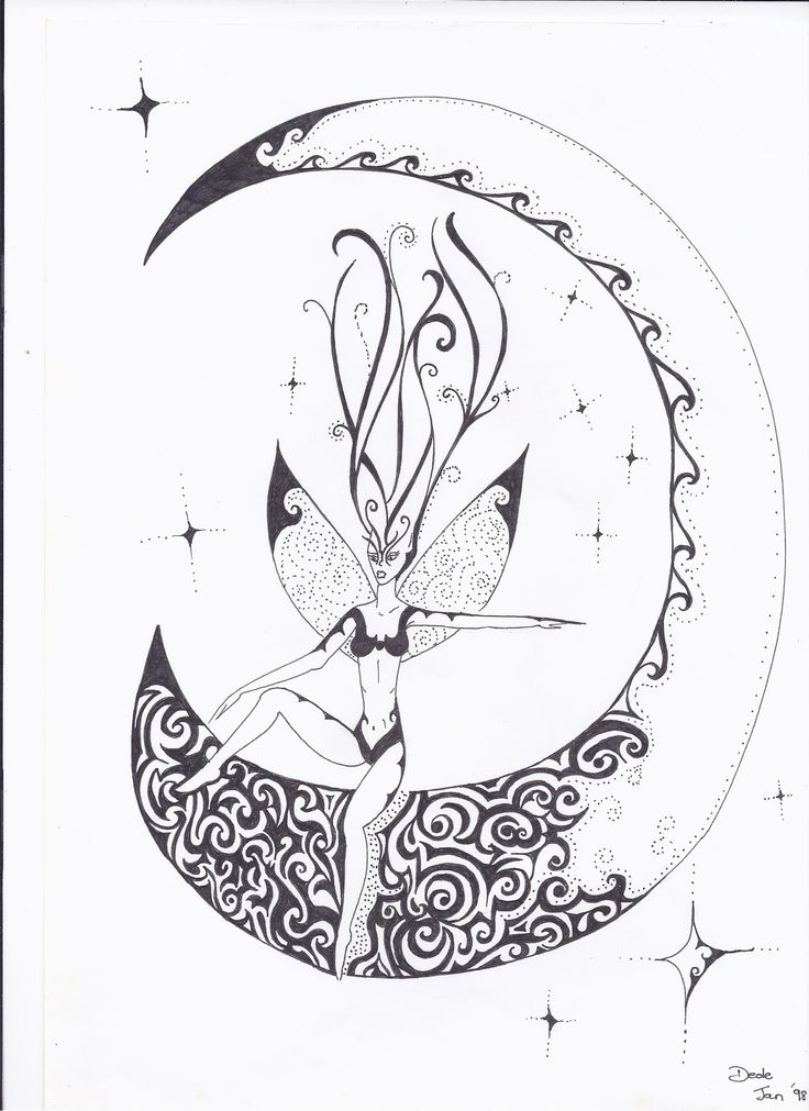 fairy on the moon, black ink on white paper