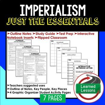 Imperialism Outline Notes JUST THE ESSENTIALS Unit Review, Study Guide, Test Prep American History Outline Notes, American History Test Prep, American History Test Review, American History Study Guide, American History Summer School, American History Unit Reviews, American History Interactive Notebook Inserts