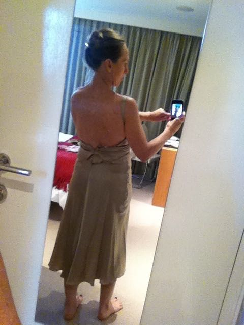 Dress up CD dress jewelled on midriff and shoulders - Champagne - back