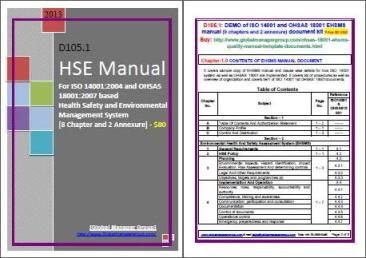 The ohsas18001safetymanual.com introduces HSE Manual for health, safety and environmental management system certification, which is addressing the requirements of ISO 14001:2015 and OHSAS 18001:2007 standards for effective environmental management system and occupational, health and safety management system.