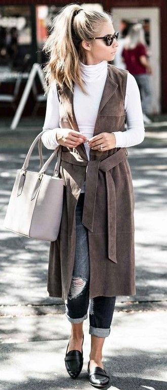 #fall #street #style   Tan Suede Vest + White Top + Denim