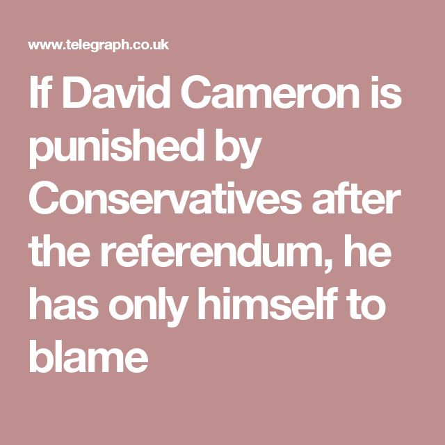 If David Cameron is punished by Conservatives after the referendum, he has only himself to blame