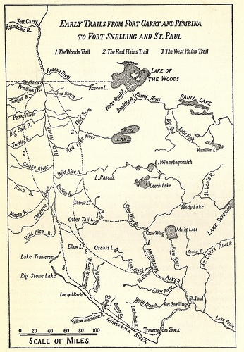 Early Trails from Fort Garry and Pembina to Fort Snelling and St. Paul (1925) by Manitoba Historical Maps, via Flickr