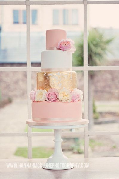 Gold leaf and blush cake by Melissa Woodland Cakes http://www.hitched.co.uk/wedding-cakes/berkshire/melissa-woodland-cakes_25844.htm #WeddingCake