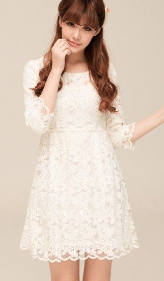 Korean Slim chiffon lace dress bottoming dress