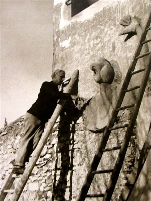 Max Ernst  Working on the facade of his home.  Saint-Martin d'Ardeche, France  1938Artists Studios, Plastic Artists, Grand Artists, Art Inspiration, Max Ernst, Ernst Work, France 1938, Saint Martin D Ardeche, Ateliers Artists