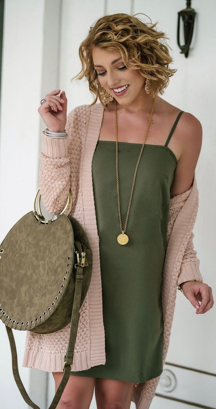 Olive Green Dress Blush Cardigan Green Dress Casual Olive Green Dress Outfit Olive Green Outfit