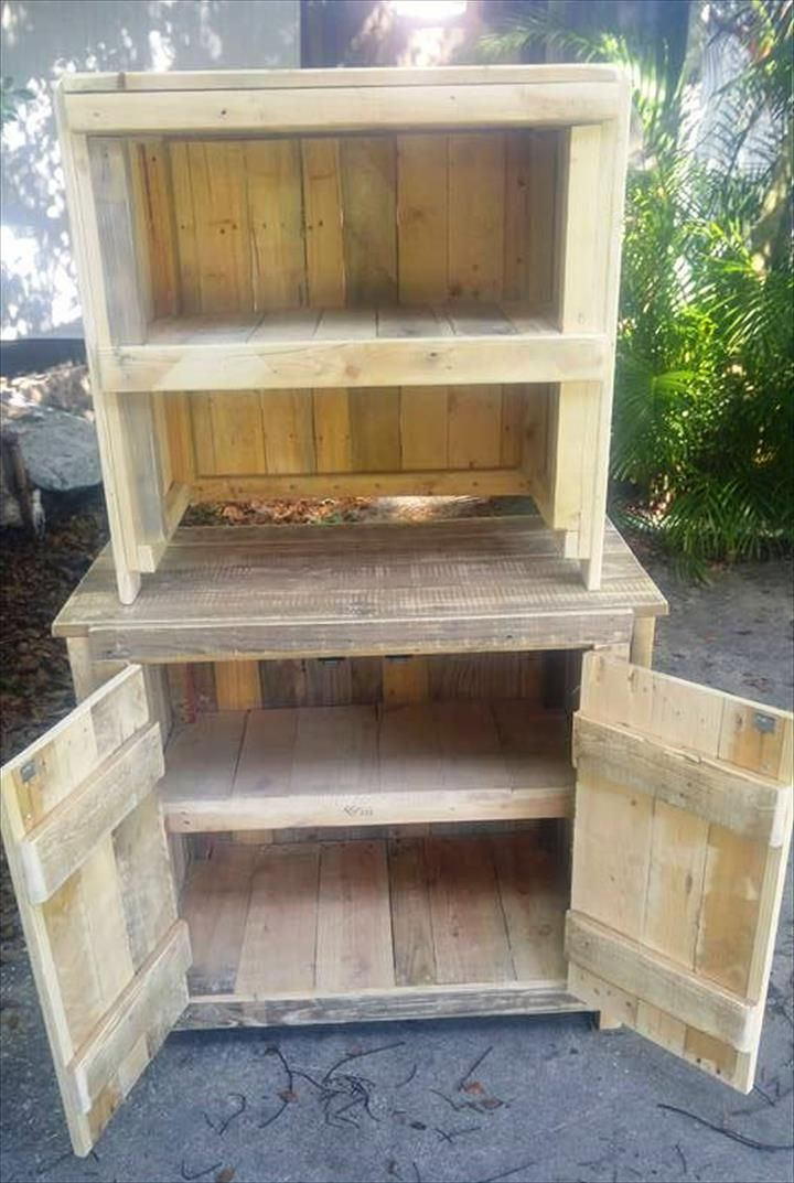 17 best ideas about pallet cabinet on pinterest for Making cabinets out of pallets