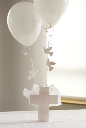 Cross Balloon Centerpiece with Flying Doves for Baptism Christening - $14.95 White