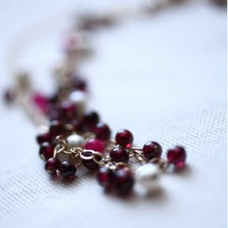 Gold, Garnet & Pearl Necklace by Aisling Wallace