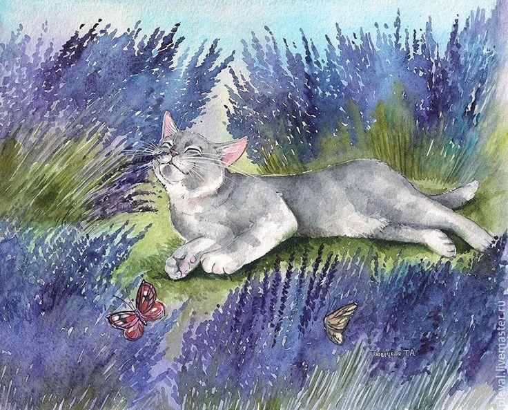 Купить Картина акварелью с котом Лавандовое удовольствие серия - сиреневый, лавандовый, аксессуары, кот