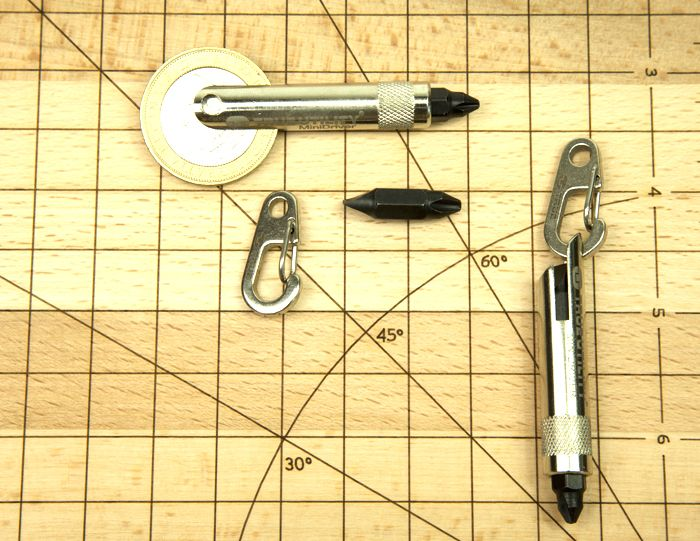 MiniDriver - A miniature key-ring screwdriver with four different heads. Great for all those DIY Dads! http://www.trueutility.com/pocket-tools-store/TU231-driverset-screwdriver.html