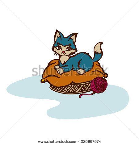 Cute kitten in a basket, vector cartoon illustration