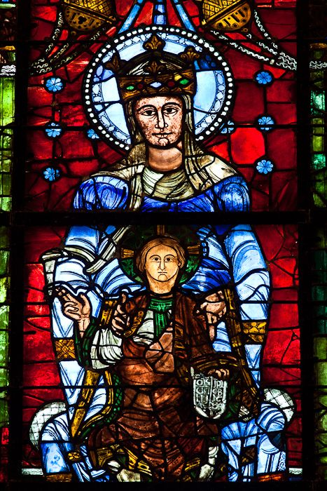 60. Chartres Cathedral. France. Orig. Construction 1145-1155. Resconstructed 1194-1220 C.E. Limestone, stained glass. Notre Dame de la Belle Verriere window.