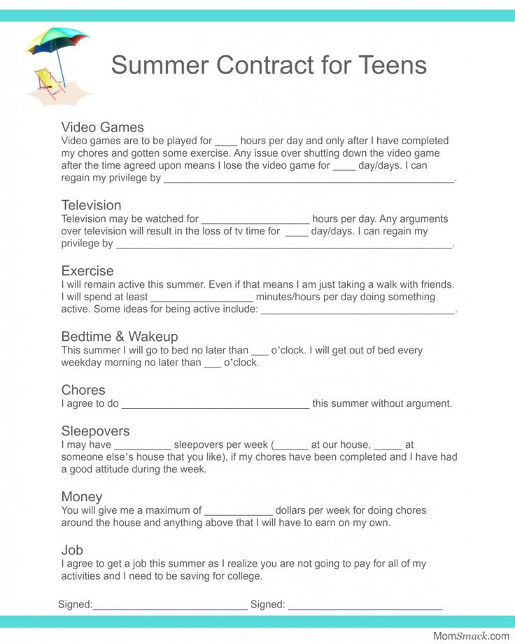 Summer Contract forTeens  I think we need a little more flexibility as some weeks will vary on friends available or amount of tv, depending on what else has gone on that week.