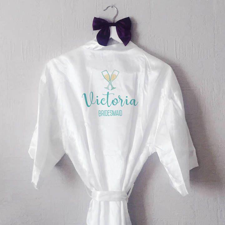 Sarah Hurley Personalised Prosecco Glass Bridesmaid Robe #ad
