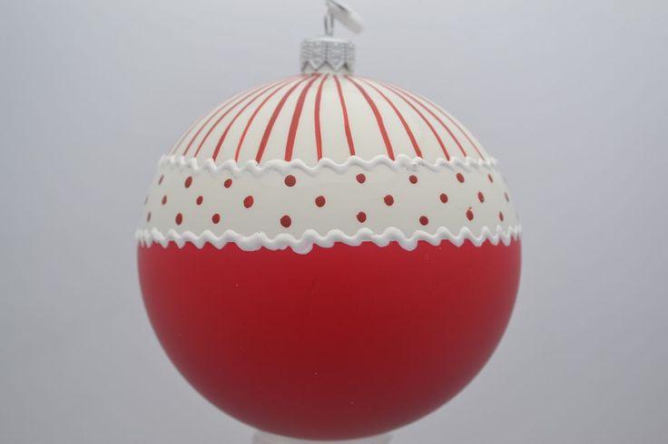 6 DRESCHER Weihnachtskugeln rot weiß Christbaumkugeln handbemalt Ø10cm in Möbel & Wohnen, Feste & Besondere Anlässe, Jahreszeitliche Dekoration | eBay