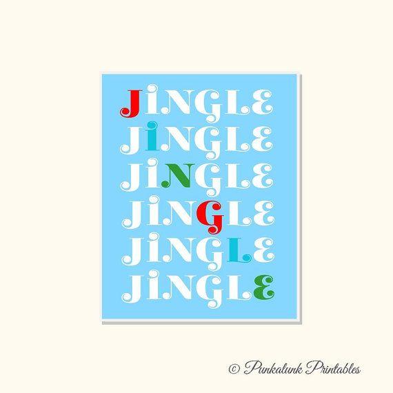 Christmas Printable Wall Art - Jingle Bells - Holiday Printable. Instant download Christmas printable in cheerful color combinations. $5.95 via Punkalunk Printables.