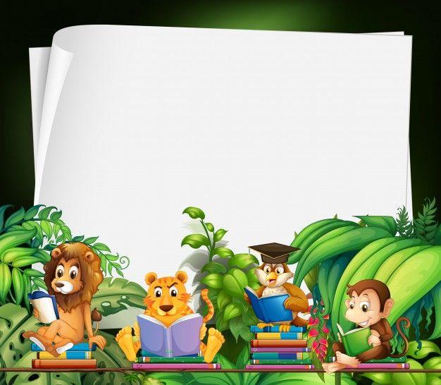 Download Border Design With Wild Animals Reading Books For Free Animals Wild Border Design Page Borders Design