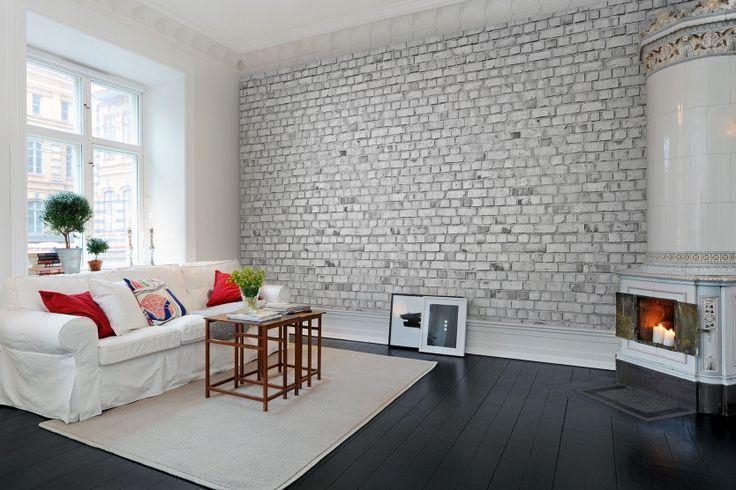 Wall mural R10963 Brick Wall, white