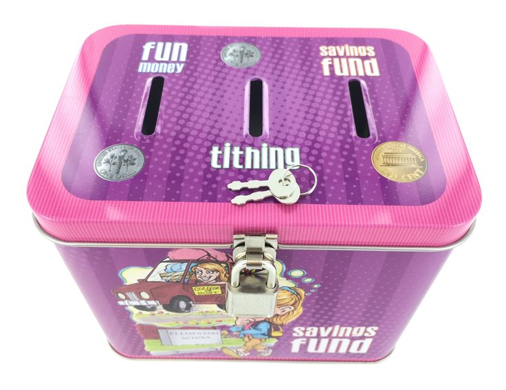 Girl's 3-Slot Tithing, Savings Fund, and Fun Money Tin Bank