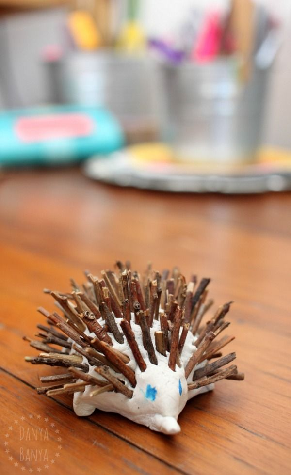 Australian animal craft kids: cute Aussie clay and stick echidna