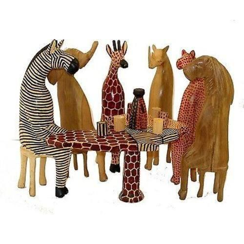 """Unique OOAK Handcrafted Carved 8"""" African Mahogany Wood Animal Figurine Set Lot"""