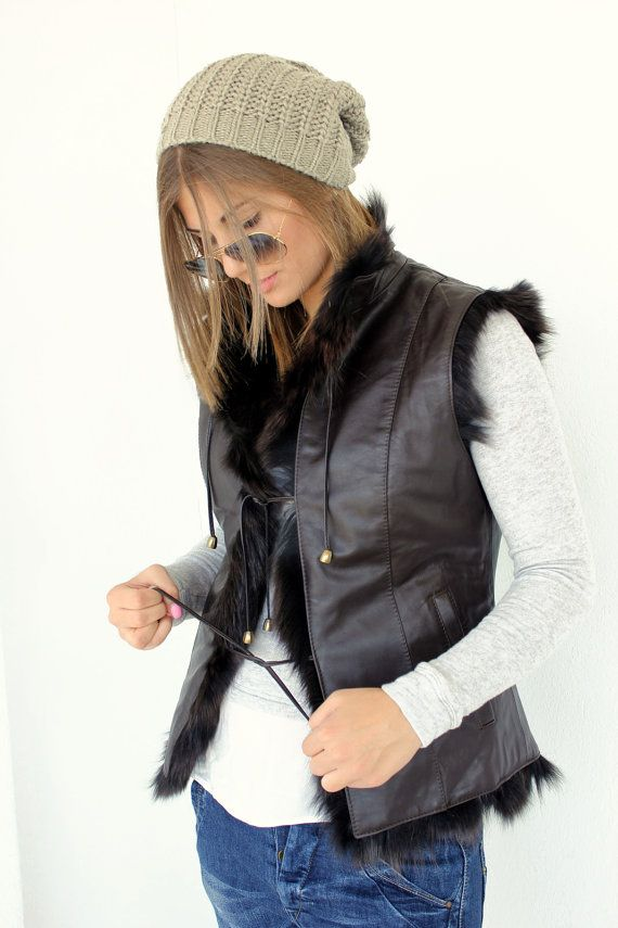 Brown Sleeveless douple sided Women's Jacket made with Leather and Fox fur