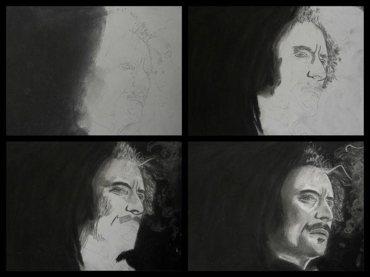 """A3 Charcoal Drawing SOA Alex """"Tig"""" Trager. (Kim Coates)"""
