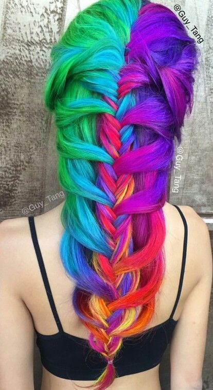 Rainbow green purple braided dyed hair color @guy_tang