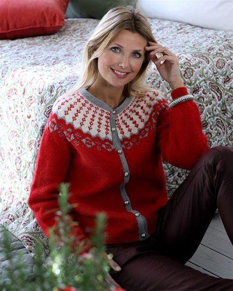 Strik en smuk klassisk juletrøje med rundt bærestykke - Hendes Verden